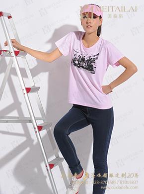 <b>粉色圆领印花T恤定制</b>