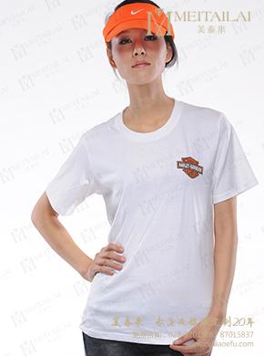 <b>白色纯棉圆领女士T恤定制</b>